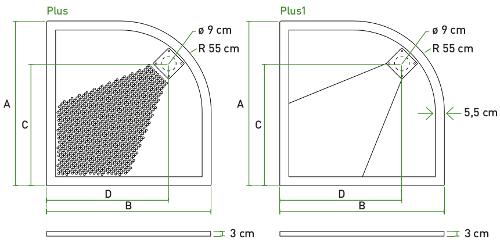 Piatto doccia misure cm 70 80 90 100 pluston - Box doccia misure standard ...